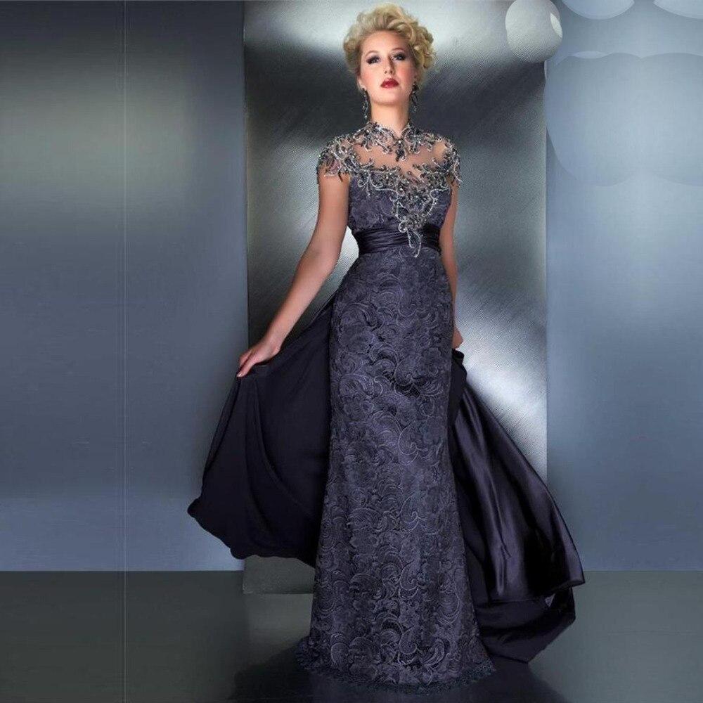 Вечернее платье Высокий воротник серый Кружева этаж Длина элегантное вечернее платье Праздничное платье Longo 2018 Мать невесты платья