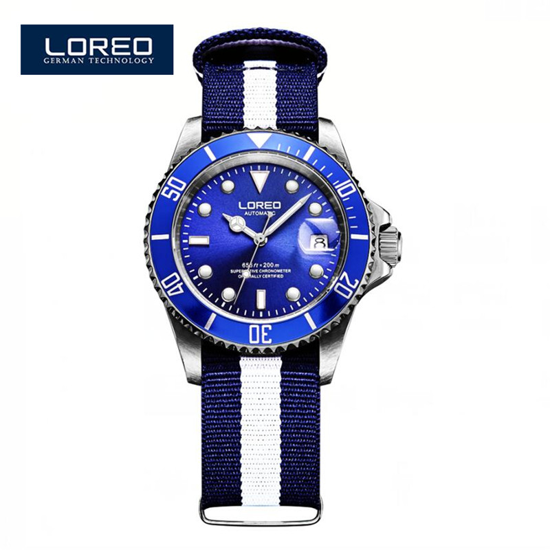LOREO Men Wristwatches Auto Date Brand Luxury Sport Automatic Mechanical Watch Army Military Watches Relogio Masculino K16