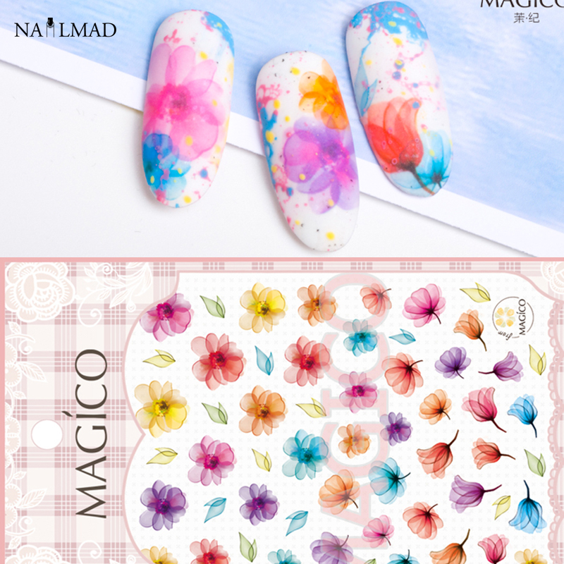 1 sheet NailMAD Marble Flowers Nail Art Stickers Ultrathin 3D Nail Sticker Floral Flower Nail decals Blooming Nail Sticker