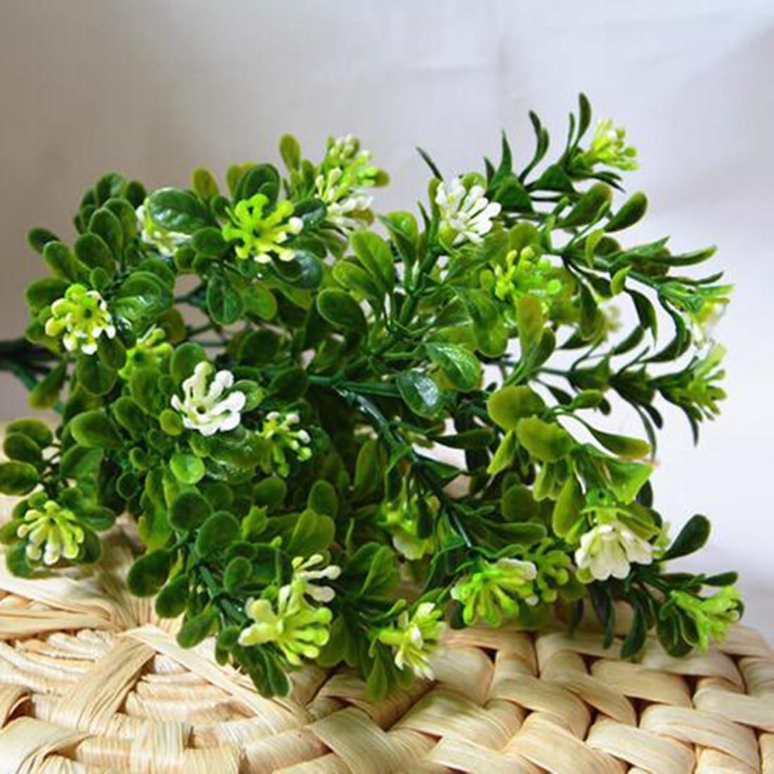 7 Branch/Bouquet 35 Heads Artificial Green Plant Fake Milan Grass Bonsai Decoration Leaf Corner Lawn Decoration