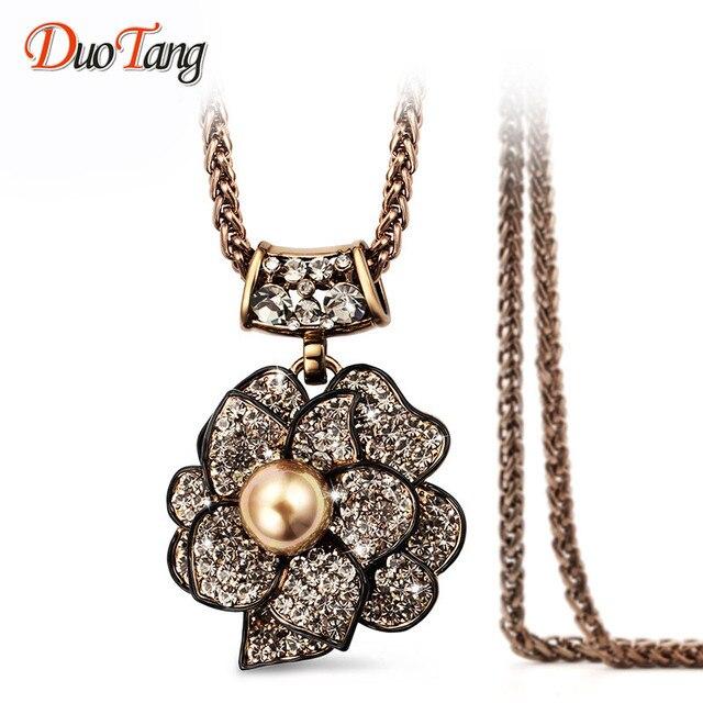 DuoTang Vintage Elegante Rhinestone de La Perla Colgante de La Flor Top de La Moda de Alta Calidad Chapado En Oro a Largo Collar de Mujer Regalo de La Joyería