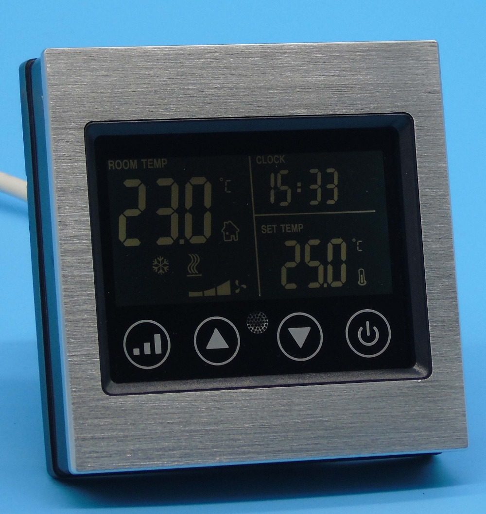 Smart touch screen cool heat Fan thermostat control With Aluminum alloy iec certificate programmable timer smart touch screen fan coil thermostat with aluminum alloy wire drawing silver