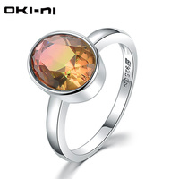 OKI NI 2018 New HOT Tourmaline 925 Sterling Silver Finger Rings For Women Original Vintage Jewelry