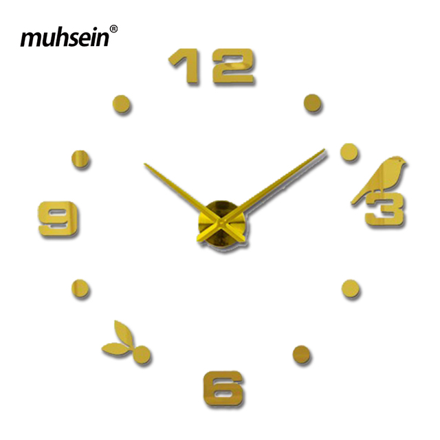 Muhsein Factory 2017 New Modern DIY Black Cat Bird Quartz Wall Clocks Home Decor Orologio Muro Livingroom Creative Watch Wall
