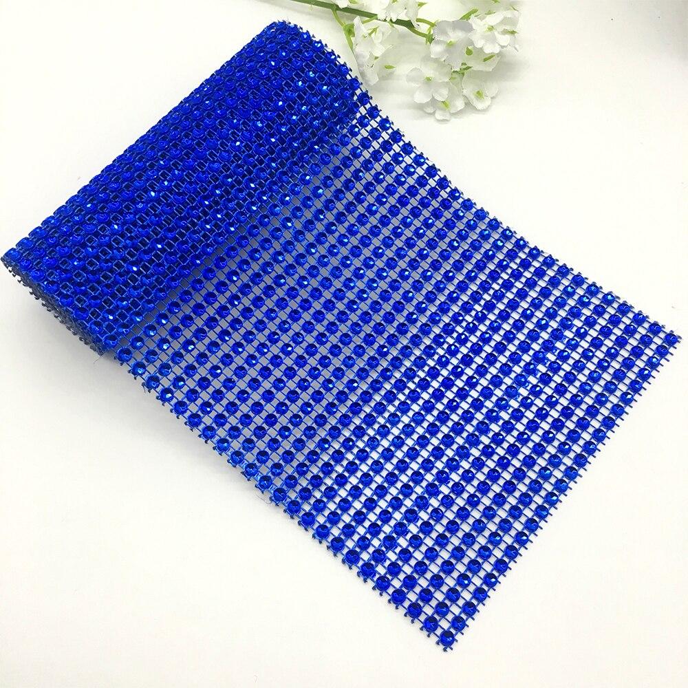 Продвижение 12 см * 9,1 м Бриллиант Сетки оберточная лента сетчатая отделка из драгоценных камней Королевский синий ленты Тюль Кристалл полезные