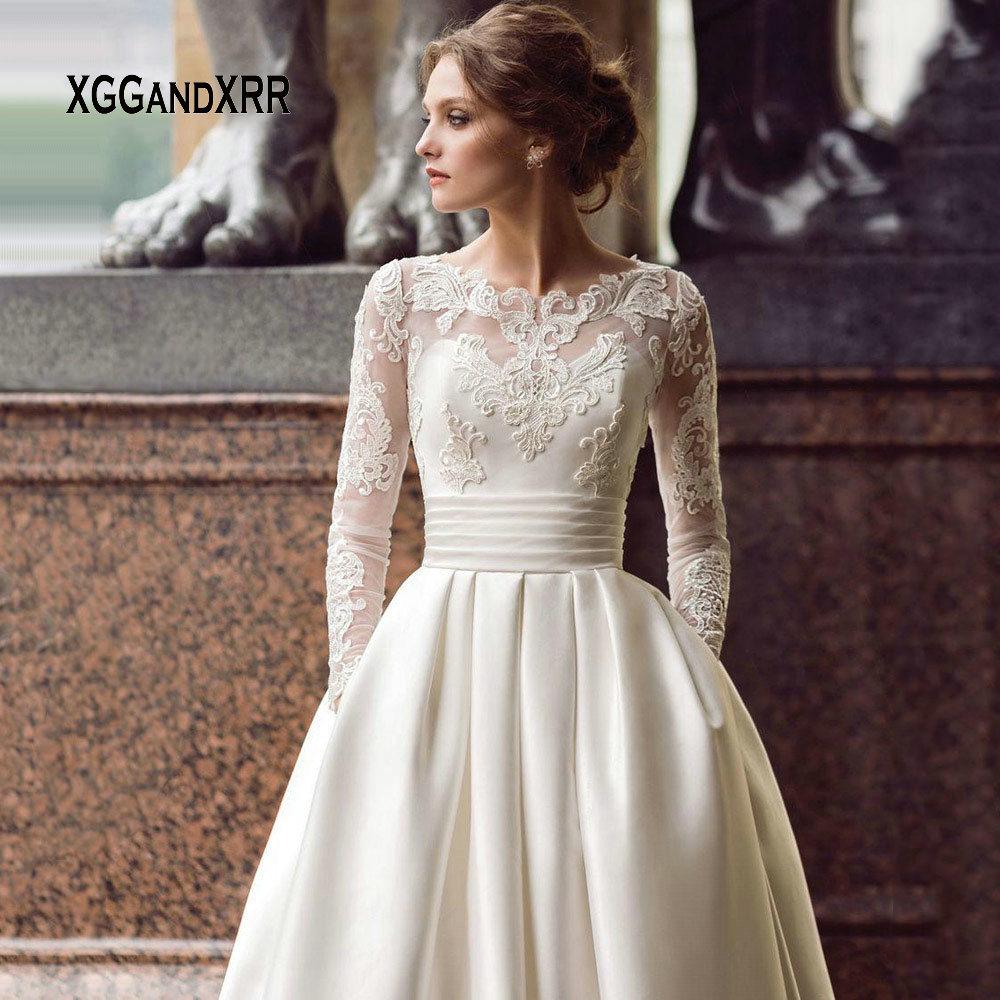 Modest Wedding Dresses 2019: Modest Long Sleeve Wedding Dresses 2019 Turkey Scoop Satin