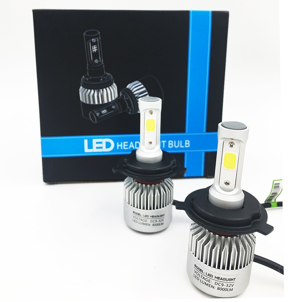 2X S2 H4 WHITE LIGHT 72W 16000LM 6500K Car COB LED Headlight Kit Beam Bulbs 1 pair dc 9 36v h4 cob 80w led car headlight kit hi lo beam bulbs 6000k