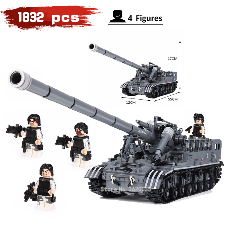 Creativity Blocks Moc Military Chariot T92 taak model 1832 pcs compatible legoingys ww2 figures Weapons toys for children gift