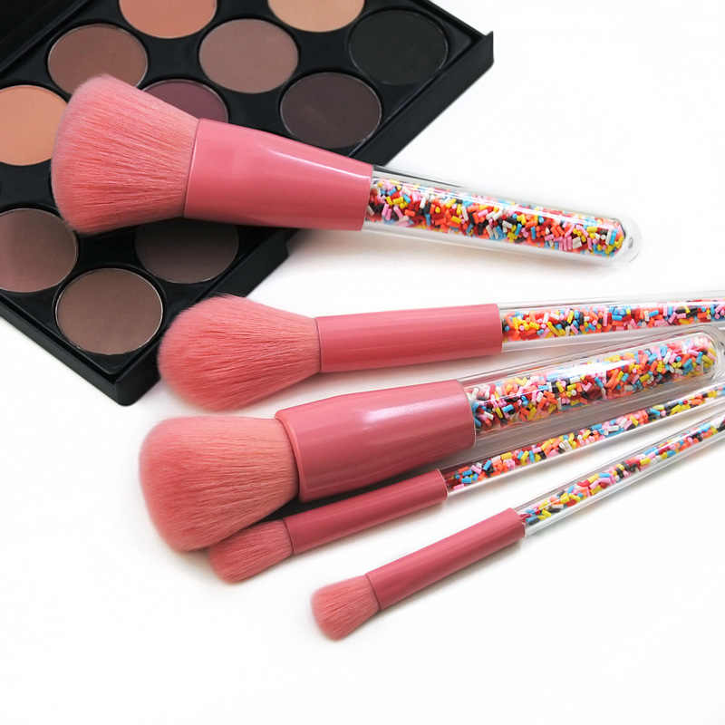 Baru 5 Pcs Lollipop Permen Unicorn Kristal Set Kuas Makeup Colorful Lovely Foundation Blending SIKAT Riasan Alat Maquillaje