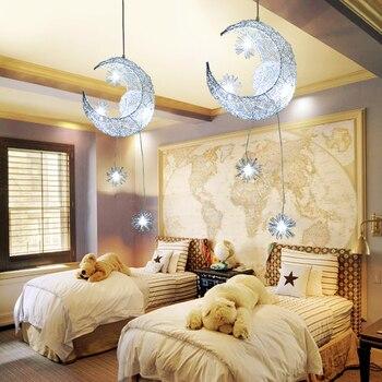 Fashion warm star moon personality chandelier bedroom restaurant balcony bar lamp decoration children room lamps