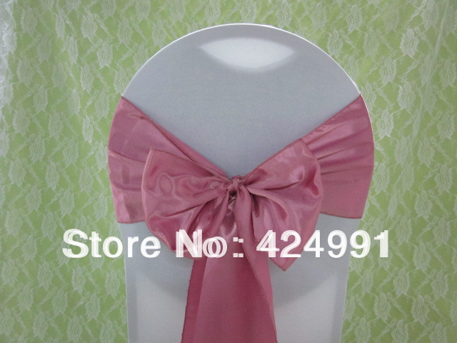 100pcs Hot Sale 12 Dusty Pink Satin Chair Sash For