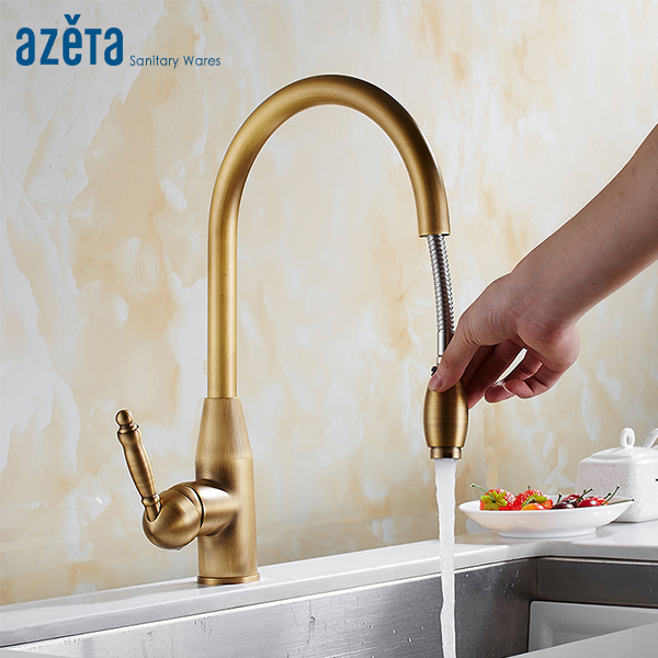 Azeta Free Shipping Pull Out Kitchen Faucet Antique Brass Classical Style Single Handle Kitchen Sink Mixer