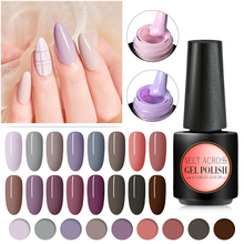 MEET ACROSS Pure Color Uv Gel Nail Polish 7ml Art Varnish Hybrid Soak Off Lacquer Semi Permanent
