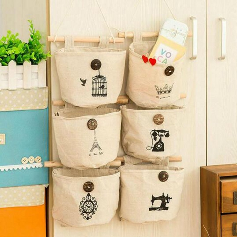 Home Hanging type Of Debris Storage Bags Organization Multifunctional Cotton Cloth Bag For Cosmetics Key Small Item Sorting Bag