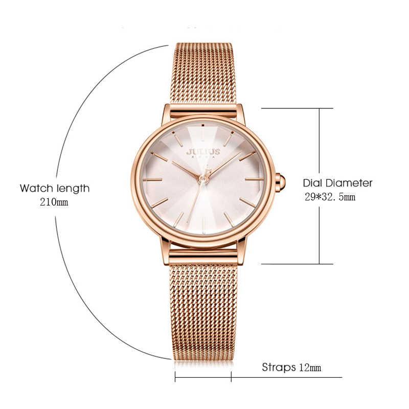 b03f69fbfd8 ... Julius Fashion Women Watches Luxury Rose Gold Ladies Quartz Wrist Watch  Stainless Steel Female Bracelet Watch ...
