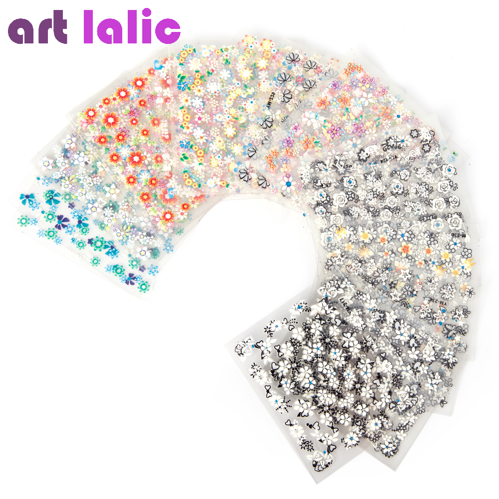 50 Sheets 3d Nail Art Stickers Decals High Quality Mix Color Flowers Design Nail Tips Decoration Manicure Tools 138designs hot nail art stickers 100sheet adhesive nail tips polish decals wrap patch finger nail manicure decoration tools
