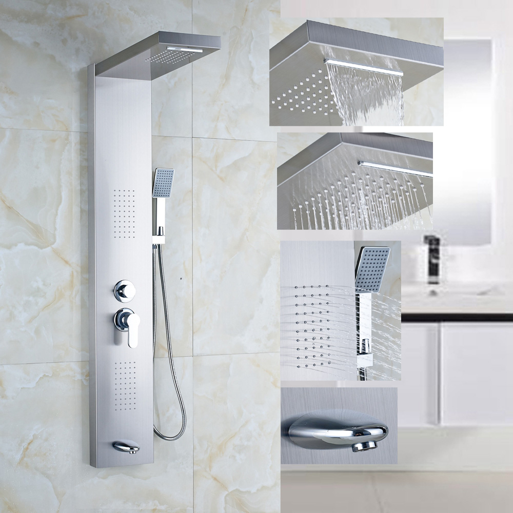 Stainless Steel 1 Handle Shower Column Panel Massage Jets Tub Hand Shower Sprayer
