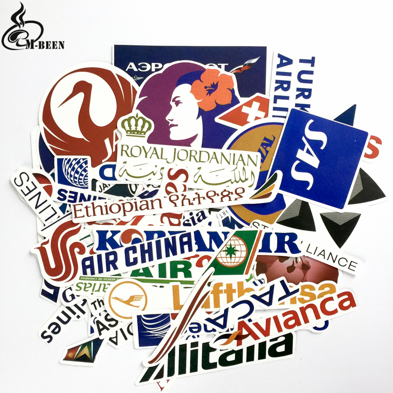цена на 52pcs/lot New Style Airline Logo Stickers Aviation Travel Trip For Suitcase Laptop motorcycle Fashion DIY waterproof decals