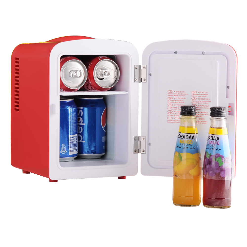 Smad DC 12V Theremoelectric Car Fridge Compact Refrigerator Beverage Cooler AC 110V Office Food Warmer,Red,4L smad dc12v 4l abs mini car cooler warmer thermoelectric car truck refrigerator fridge beer soda 6 can fishong camper