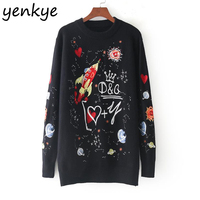 Brand Women Fashion Embroidered Sweater Long Sleeve O Neck Knitted Pullover Cozy Autumn Winter Jumper Sueter