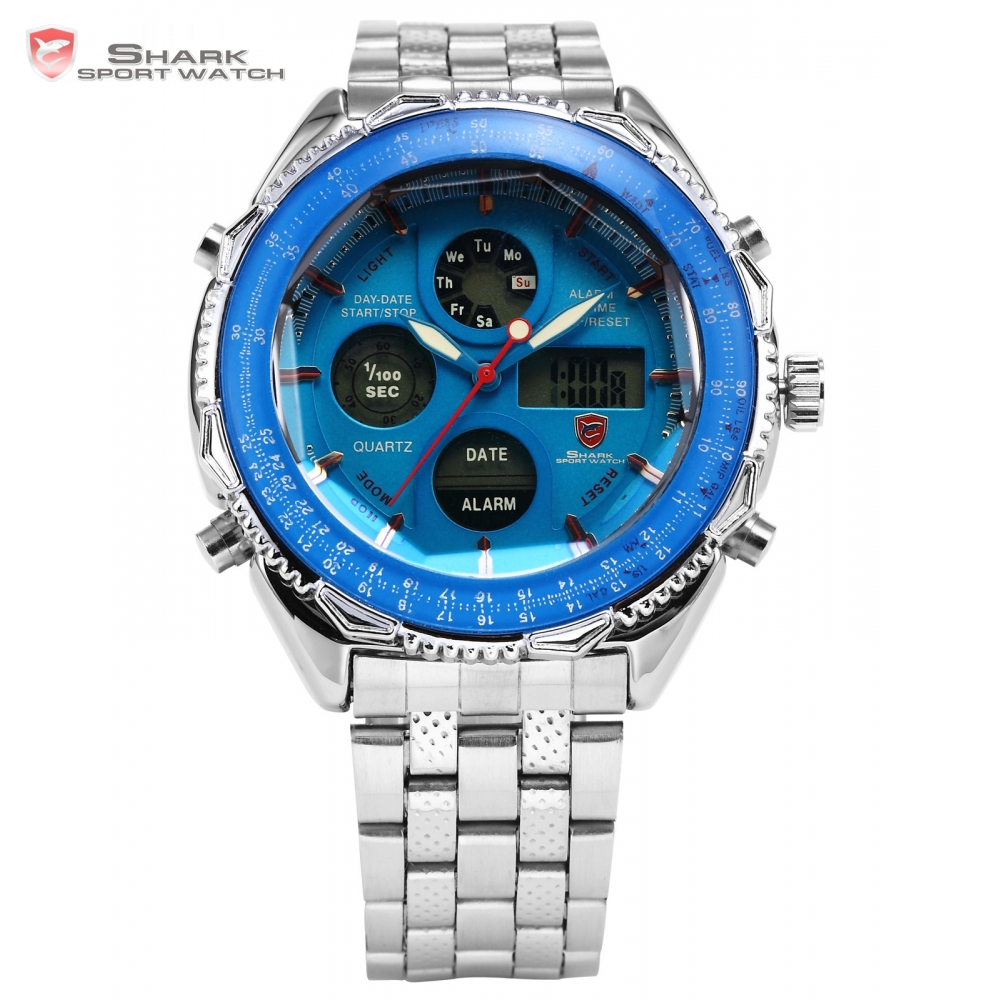 Eightgill Shark Sport Watch Dual Time Date Alarm Silver Stainless Steel Band Stopwatch Blue Quartz Men's Digital Watches / SH110