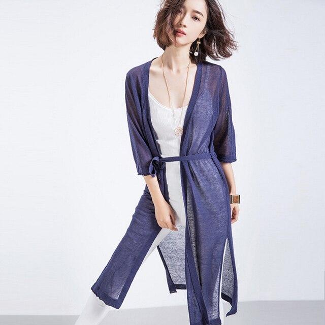 Women Summer Long Cardigan Simple Modern Tops Solid Color Belt Sweater 2016  New Fashion Cardigan Feminino