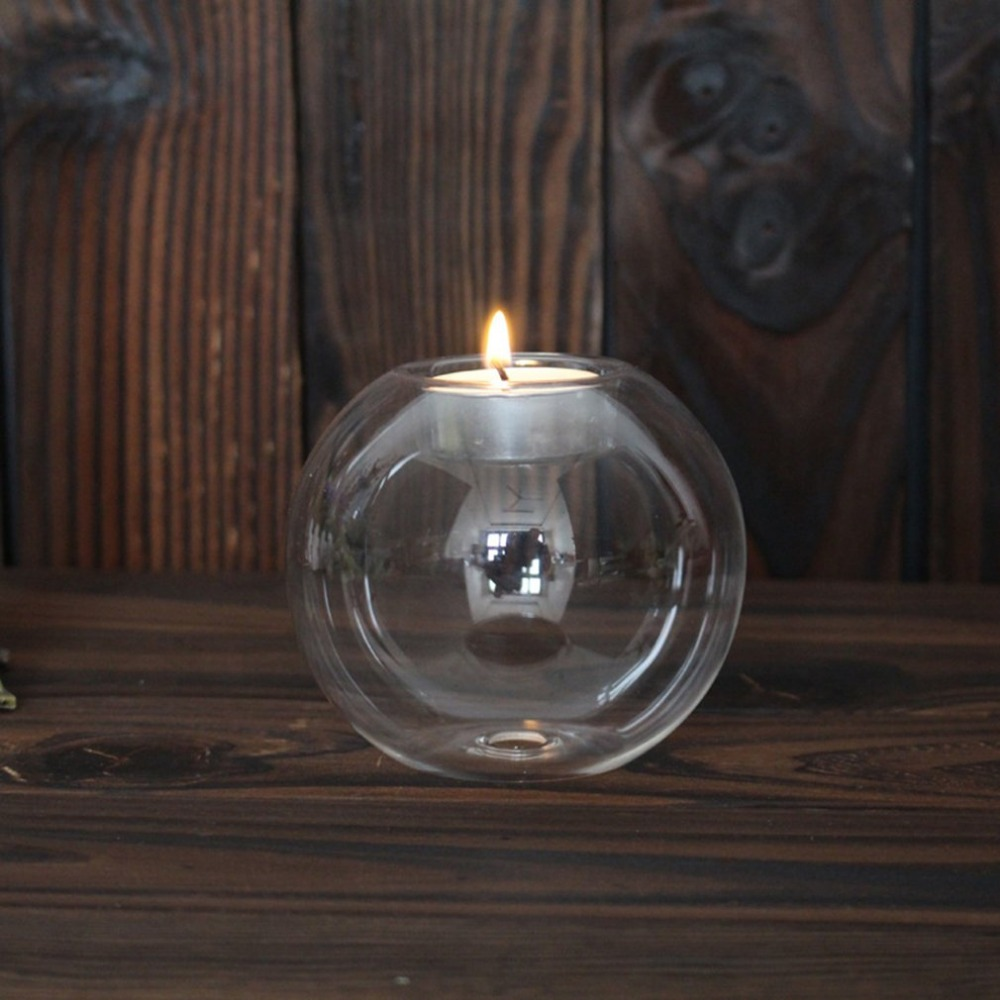 Rounded Hollow Glass Candle Holder 9