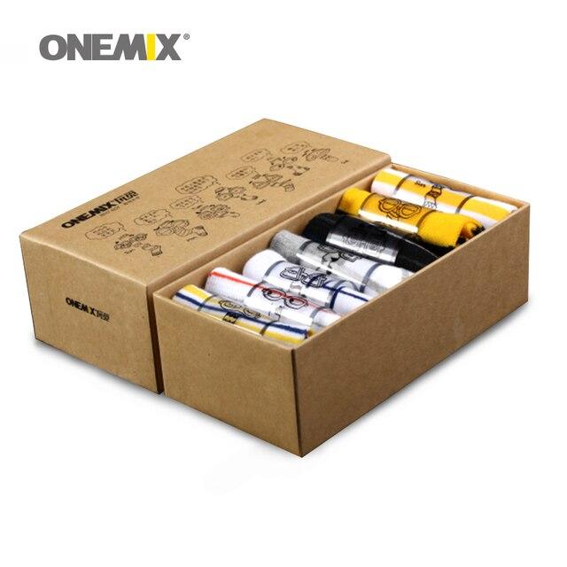 Onemix мужские носки из чистого хлопка для бега 7 пар/лот для 7 повседневная одежда для бега на открытом воздухе прогулочный корабль в случайном порядке
