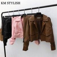 2017 Autumn And Winter Long Sleeved Lapel Leather Jacket Short Skirt High Waist Skirt Sets 2