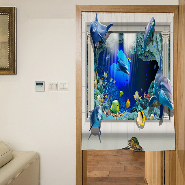 3D Dolphins Door Curtains 2
