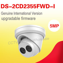 Free shipping English version DS-2CD2355FWD-I 5MP Network Turret cctv Camera P2P SD card, H.265+ P2P POE security camera
