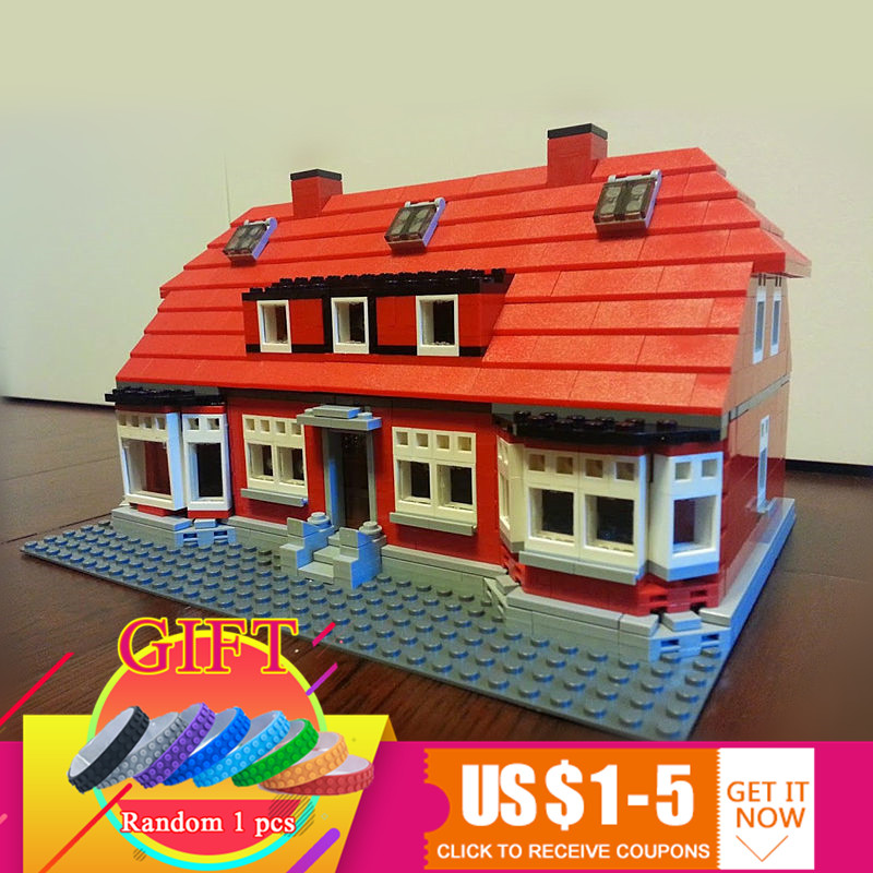 17006 928pcs The Red House Set Compatible with 4000007 Model Building Blocks Children DIY Toys gift lepin creator home 17006 928pcs the red house set model 4000007 building kits blocks bricks educational toys for children gifts
