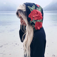 Fashion Autumn Women Embroidered Long Sleeve Hooded Tops Blusa Shirt Casual Loose T Shirt Vetement Femme