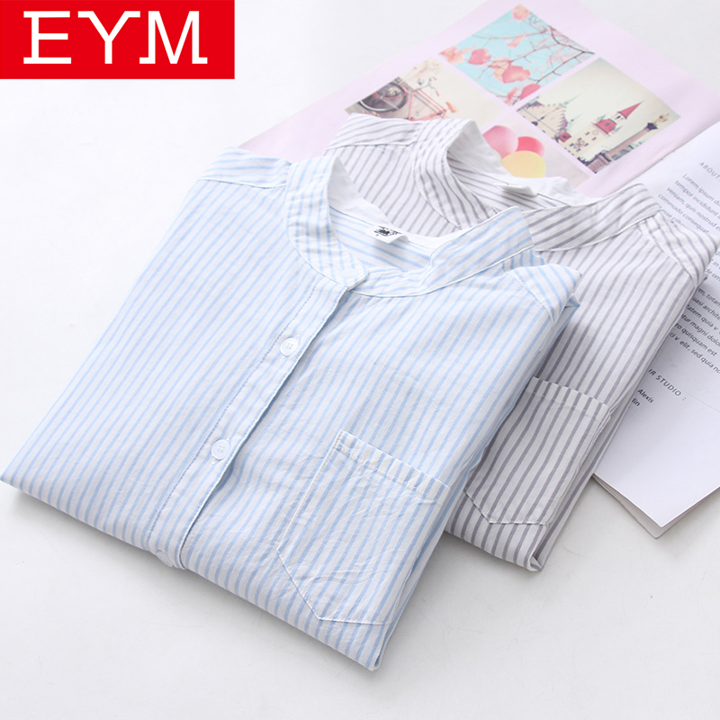 EYM Striped Shirt Women 2018 Autumn New Stand Collar Cotton Casual Blouses Ladies Loose Long Sleeve Shirts Women Tops And Blouse