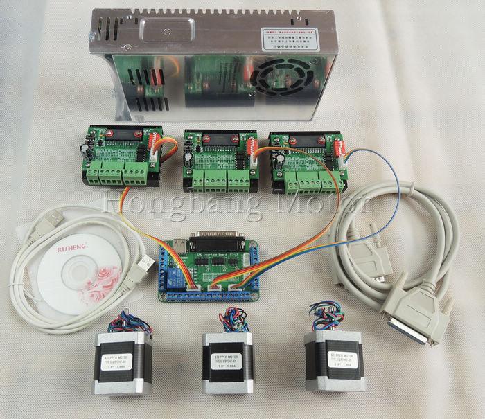 CNC Router mach3 3 Axis Kit, 3pcs TB6560 driver + 5 axis stepper motor controller + 3pcs nema17 1.7A motor +24V power supply
