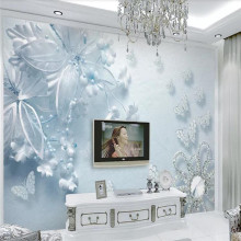 Custom wallpaper pure beautiful blue transparent flowers butterfly 3d TV background wall decorative painting waterproof material
