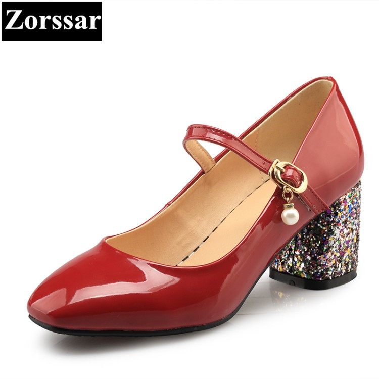 {Zorssar} women High Heels Pumps Comfortable thick heel pointed toe Mary Jane Shoes Pu Ladies office career shoes Size 33-43