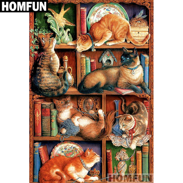 HOMFUN Full Square Round Drill 5D DIY Diamond Painting Bookshelf Cat Embroidery