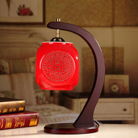 Free Shipping Chinese Red Table Lamp Hollow Out Ceramic Desk Lamp For Wedding Gift