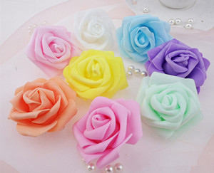 100pcs/lot 6cm Foam Rose Heads Artificial Flower Heads Mint Green Tiffany Blue Peach Flowers Wedding Decoration For Kissing Ball