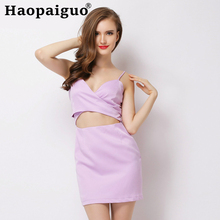 Europe Style Backless Sexy Party Dress Women V-neck Spaghetti Strap Wrap Mini Dresses Ladies Purple Woman Night