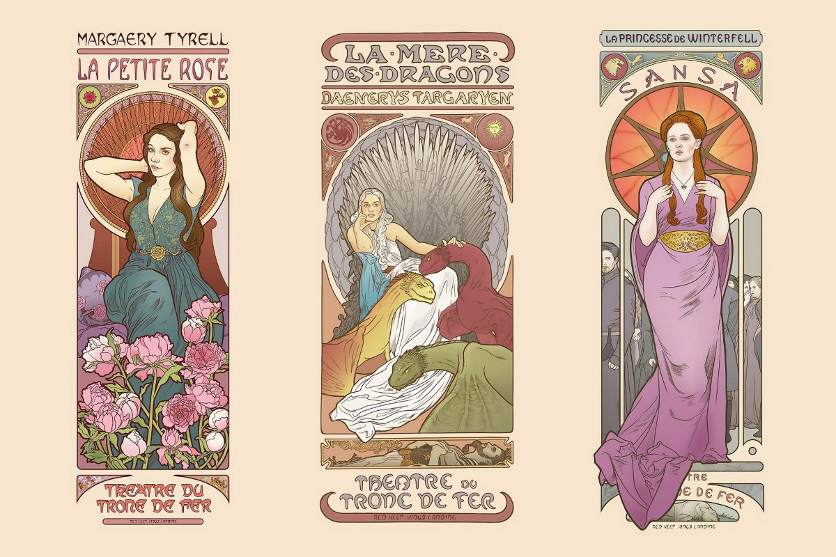 Game of Thrones comic Art character Nouveau Sansa Stark Margaery Tyrell AT074 Room home wall modern art decor wood frame poster