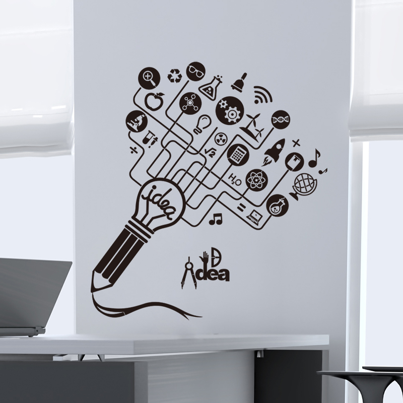 Shijuehezi removable handmade big idea pencil wall sticker custom sticker for company office decoration stickers muraux in wall stickers from home