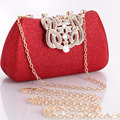 Ladies Day Clutch Purse Gold Chain Evening Bag Crown Designer Rhinestone Evening Purse Mini handbag red bolsos pochetta XA359C