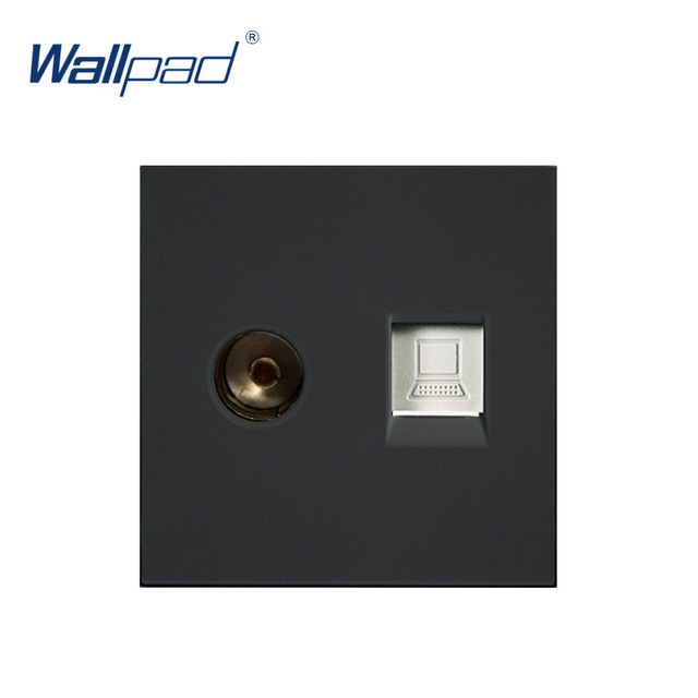 Wallpad Data and TV Socket Network Computer Outlet Function Key For Wall White And Black Plastic Module Only