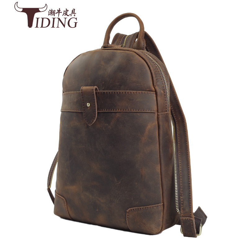 Genuine Leather TIDING Luxury Crazy Horse Leather Men Backpack Retro Shoulder Bag Travel Cow Leather Crossbody Bag 2016 New hibo retro crazy horse leather shoulder bag men travel backpack men backpackers shoulder backpack tide pack