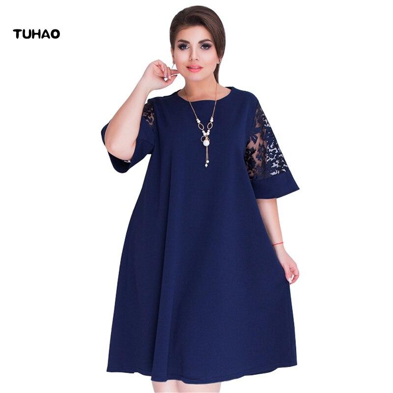 TUHAO Loose Elegant Plus Size 6XL 5XL 4XL Lace Dress 2018 Summer Women s  Office Lady Work Ladies Dresses Big Size Vestidos JX53-in Dresses from  Women s ... 9e6993f1b229