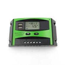 60A 50A 40A 30A 20A 10A 12V 24V PWM pannello solare Regolatore di Carica della batteria Regolatore Display LCD USB 5V Caricatore Del Telefono Mobile