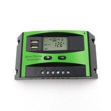 60A 50A 40A 30A 20A 10A 12V 24V PWM พลังงานแสงอาทิตย์แผงควบคุมจอแสดงผล LCD USB 5V ชาร์จโทรศัพท์มือถือ