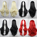 Harajuku Anime Wig Cosplay Black Red Long Wavy Curly High Quality Synthetic Hair Sexy Blonde Wigs Women Peruca Perruque W027